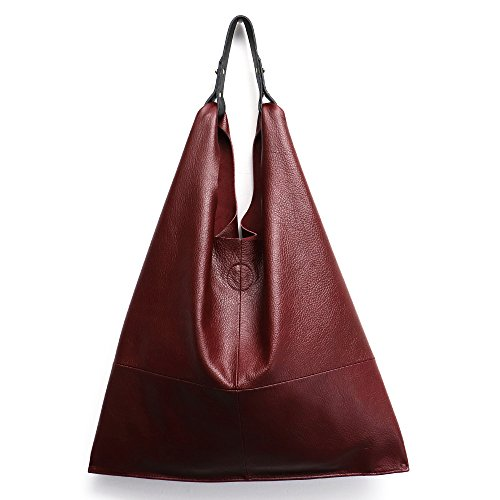 Women's Handbag STEPHIECATHY Genuine Leather Slouchy Hobo Shoulder Bag Large Casual Soft Handmade Tote Bags Ladies Vintage Bucket Snap Shopping Bag with Zipper Cellphone Liner Bag Inside (Wine Red) Large Hobo Tote Handbag