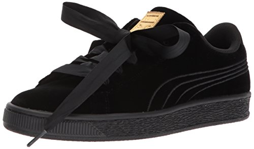 PUMA Baby Basket Classic Velour Kids Sneaker, Black-Metallic Gold/001, 5 M US Toddler