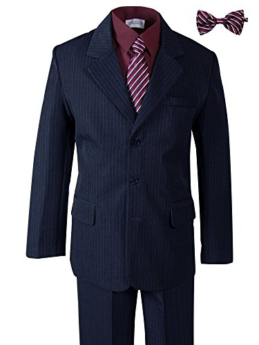 Spring Notion Boys' Pinstripe Navy Blue Suit with Matching Tie and Bow Tie 16 Navy-Burgundy