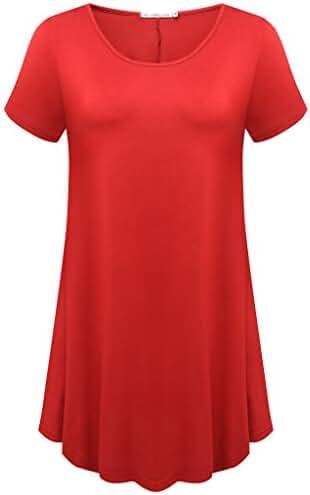 JollieLovin Women's Short Sleeve Loose Fit Flare Hem T Shirt Tunic Top