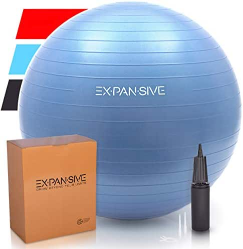 Expansive Living Exercise Ball - Anti Burst, Heavy Duty for Yoga, Balance, Stability, Therapy, Workout, Fitness, Pilates and Birthing. Swiss Ball | Office Chair | Physio Ball -2,000lb Static Strength