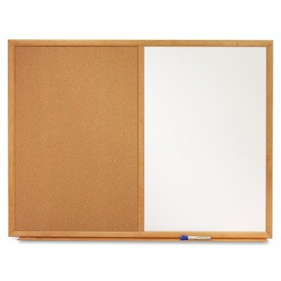 Quartet S554 Bulletin/Dry-Erase Board, Melamine/Cork, 48 x 36, White/Brown, Oak Finish Frame