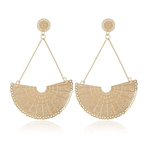 Semicircle Fan Earrings for Women Geometric Dangle Drop Half Round Shaped African Tribal Ethnic Jewelry (Styles 2)