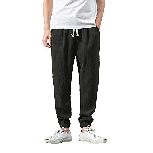 BingYELH Men's Drawstring Casual Beach Trousers Linen Summer Pants Elastic Waist Lounge Pajama Jogger Loose Fit Yoga Pants Black]()