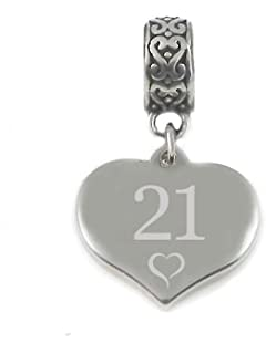 21st Birthday (Years Old) Silver Star Charm Bead 925 Sterling Silver Fits Pandora Bracelets