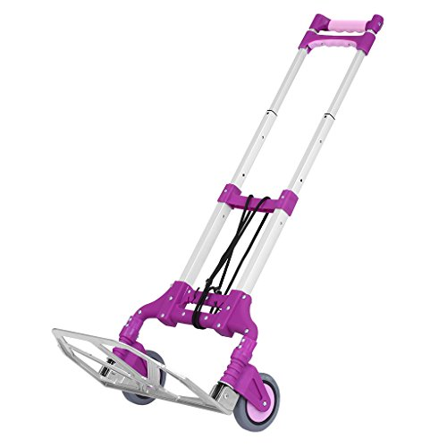Finether Cart Aluminum Folding 2-wheel Hand Truck|Lightweight Portable Trolley dolly for Indoor Outdoor Travel Shopping Office, Purple