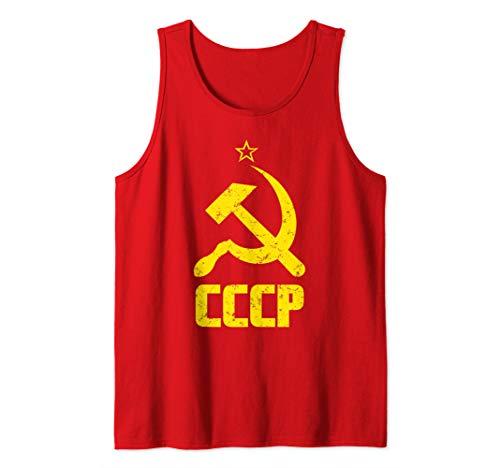 - CCCP Shirt Distressed Hammer & Sickle Soviet Union USSR Gift Tank Top