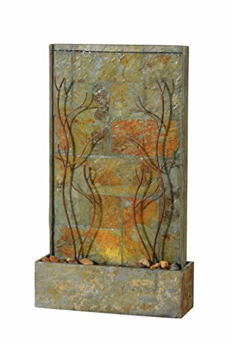 Kenroy Home 51015SLCOP Trailing Vines Indoor/Outdoor Floor Fountain with Light, Natural