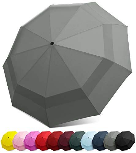 EEZ-Y Compact Travel Umbrella w/Windproof Double Canopy Construction - Auto Open/Close Button -