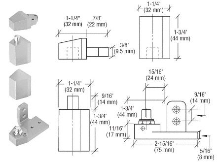 C.R. LAURENCE 0P30RHA CRL Aluminum Offset Right Hand Pivot Set Flush with Frame Face