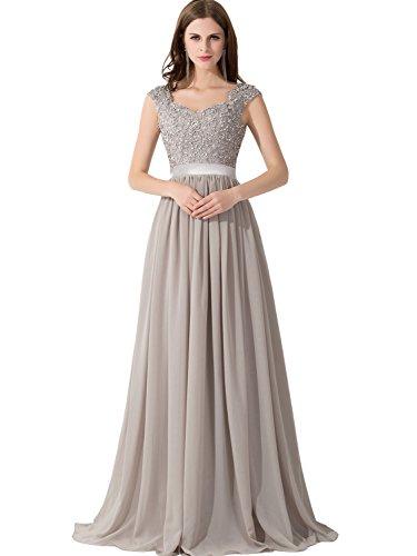 Babyonlinedress Women Long Chiffon Bridesmaid Dresses Illusion Bridal Gown,Silver,Size (Impression Bridal Wedding Dress)
