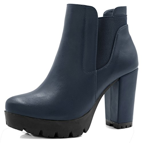 Heels High Navy Leather (Allegra K Women's Chirstmas Chunky Heel Platform Zipper Chelsea Boots (Size US 9) Navy Blue)