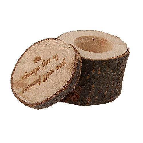 Fewear Wood Wedding Ring Box, Wedding Ring Bearer, Wedding Box for Rings, Rustic Ring Box, Personalized Retro Wedding Ring Box Holder Shabby Chic Rustic Wooden Bearer Box (Brown C) (Wedding Cake Arch Topper)