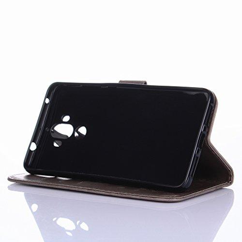 Yiizy Huawei Mate 9 Custodia Cover, Erba Fiore Design Sottile Flip Portafoglio PU Pelle Cuoio Copertura Shell Case Slot Schede Cavalletto Stile Libro Bumper Protettivo Borsa (Grigio)