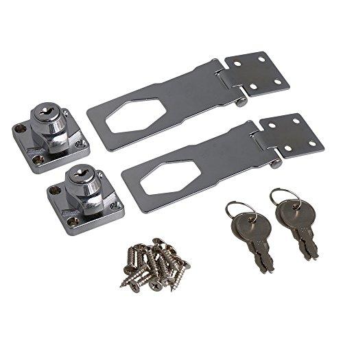 RDEXP 4 Inch Length Silver Zinc Alloy Keyed Hasp Lock Twist Knob Keyed Locking Hasp for Doors Cabinet Set of 2 by RDEXP