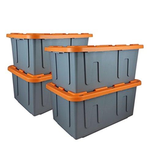 Durabilt 27 Gal. Plastic Storage Tote, Gray/Orange (Set of 4) - 30.75 x 20.50 x 14.38 Inches