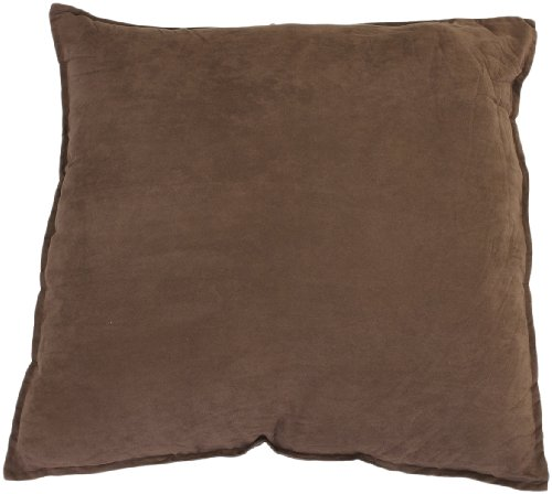 Hudson Suede Bedding - Hudson Street Faux Suede 2-Pack Decorative Pillow, 22 by 22-Inch, Brown