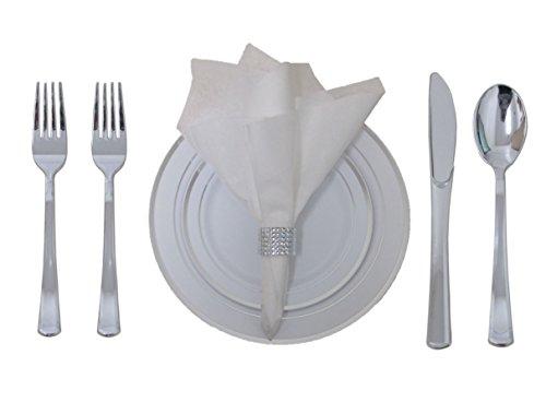 360 Piece Disposable Plastic Wedding Tableware Silverware Set. Silver Rimmed Dinner u0026 Dessert Plates Silver Cutlery Set Silver Rimmed Tumblers ...  sc 1 st  HomeGoodsReview & 360 Piece Disposable Plastic Wedding Tableware Silverware Set ...