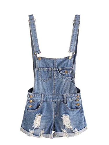MakeMeChic Women's Ripped Distressed Denim Overall Shorts Romper 3-Blue M