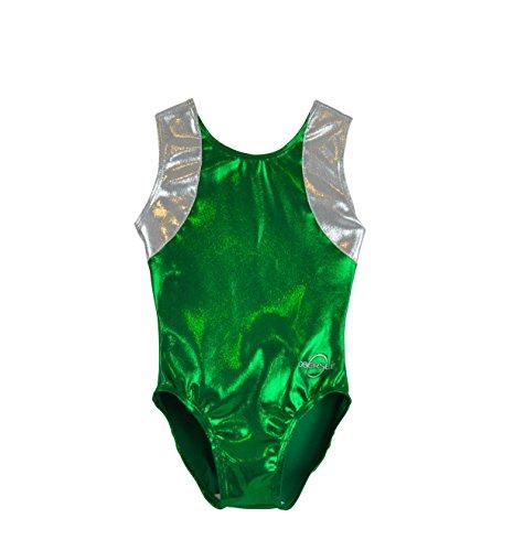 Obersee Kid's Gymnastics Leotard, Cross Back Green, - Leotard Cxs