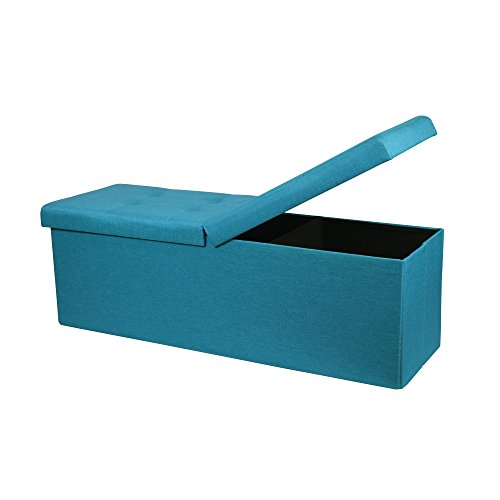 Otto & Ben 45 Storage Folding Toy Box Chest with Smart Lift Top Upholstered Tufted Ottomans Bench Foot Rest for Bedroom, Sky Blue