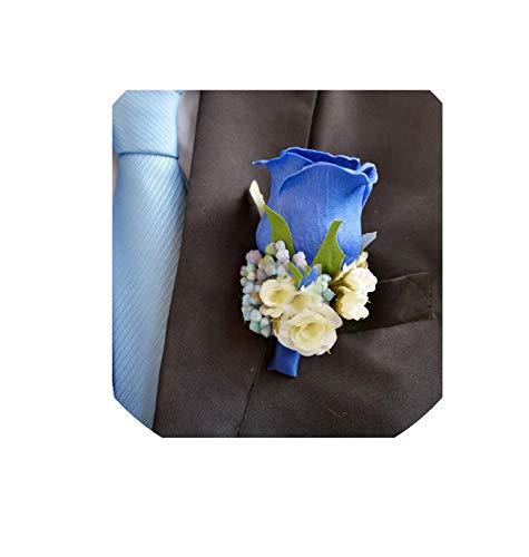 Handmade 5Pcs/Lot PU Rose Flower Wedding Groom Groomsman Boutonniere Prom Party Button Hole Men's Suit Pin Brooch Flower,Blue ()