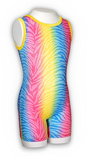 Pelle Girls' Discount Gymnastics Biketard Rainbow Tiger Stripe CL