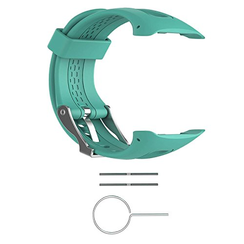Replacement Band for Garmin Forerunner 10/15 For Women/Man - TenYun Silicone Wristband Strap/Bands for Garmin Forerunner 10/Garmin Forerunner 15(TEAL,Small-Size(0.81 x 0.77)