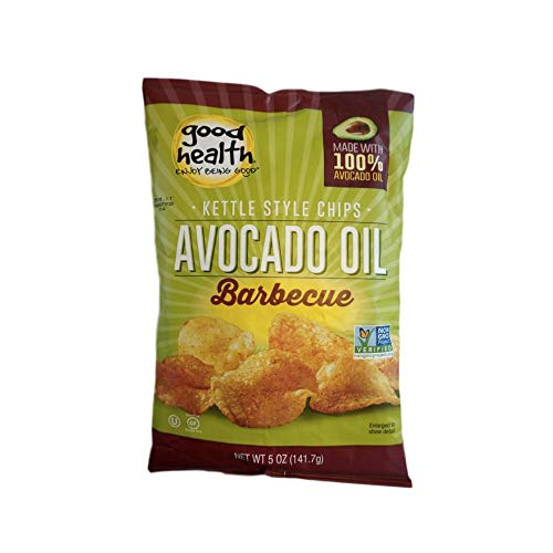 Good Health Avocado Oil Kettle Style Chips Barbecue, 5oz, Pack of 2, (Including 2 Moist towelettes) Green