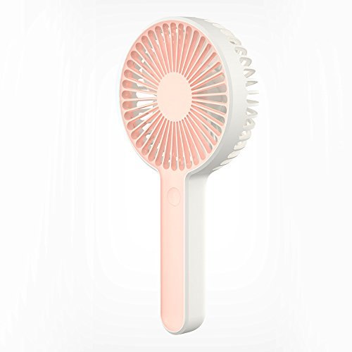 RimeU Handheld Mini Quiet USB Fan Personal Portable Cooling Desk Fan 2000mAh Rechargeable Battery Operated Fan for Home Office Student Household Outdoor Travel Camping Boating Fishing (Pink)