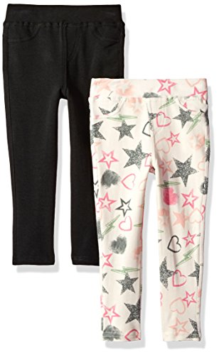 One Step Up Toddler Girls' 2 Pack French Terry Jegging, Buttercream/Black, 3T by One Step Up