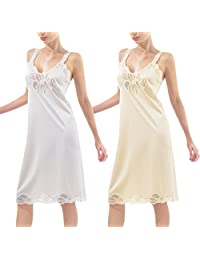 Women's Full Lace Slip Chemise Sexy Long Cami Sexy Lingerie Lounge Dress Nightgown-2PK