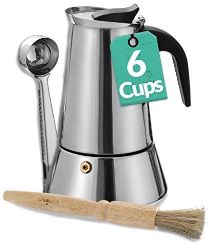 Cafetera Italiana para 6 Tazas – con Pincel de Limpieza y Cuchara Dosificadora – Apta para Inducción – Acero Inoxidable