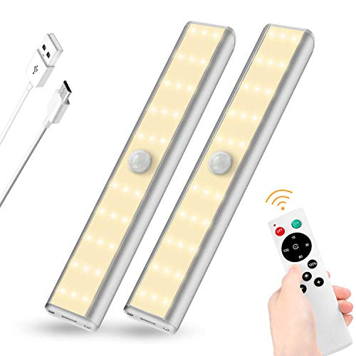 SZOKLED Under Cabinet Lighting Remote Control 30LED Rechargeable Shelf Light, Wireless Closet Lights Bar with Magnetic Strip, Dimmable Night Light Stick on Anywhere, 2-Pack, Warm ()