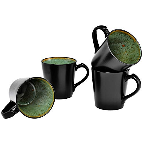 Rustic Stoneware Mug - Culver VOG Ceramic Mug, 14-Ounce, Black Green, Set of 4