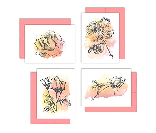 lower Note Cards - Sunset Floral Watercolor Card Set - (Set of 12 Note Cards + Coral Pink Envelopes) - By Palmer Street Press (Pink Flower Note Card)