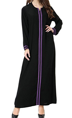Les Femmes Domple Musulman Caftan Dubai Robe À Manches Longues Islamic Abaya Violet