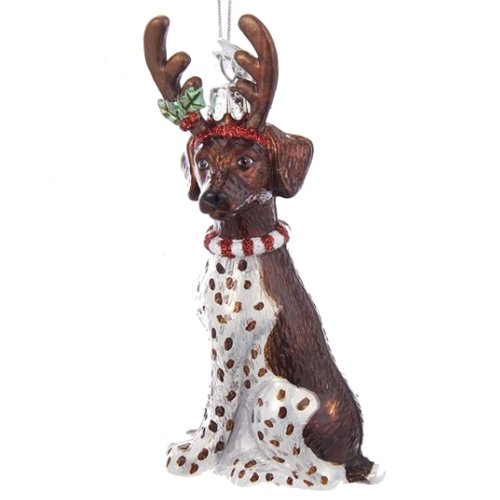 Noble Gems German Shorthaired Pointer with Antlers Glass - German Ornament Christmas Shorthaired Pointer