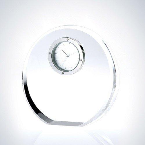 Beveled Circle Optical Crystal Clock Award