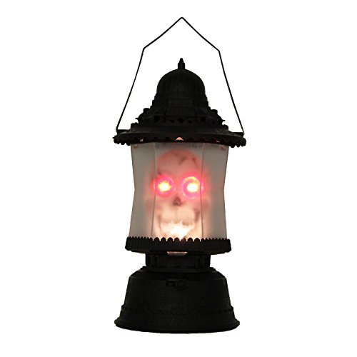 Adorox LED Skull Lantern Flashing Music Sounds Light up Scary Skeleton Candle Horror Party Prop Decoration Lamp
