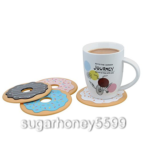 4 PCs/Lot Cute Creative Donut Coasters Drink Bottle Glass Beverage Coffee Mug Mats Plastics Non-Slip Mat Coaster