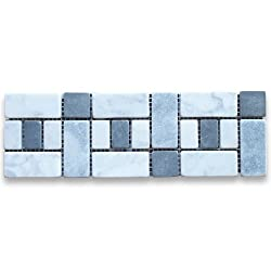 Carrara White Italian Carrera Marble Listello Tile Mosaic Border 4 x 12 Tumbled