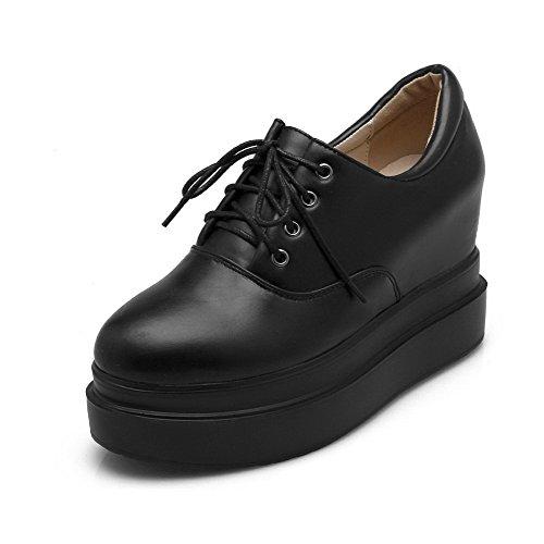 Materiale talloni Chiusa Delle Amoonyfashion Con Morbido Punta Rotonda Solidi Nero shoes Lacci Donne Alto Pompe Iqdw5zd