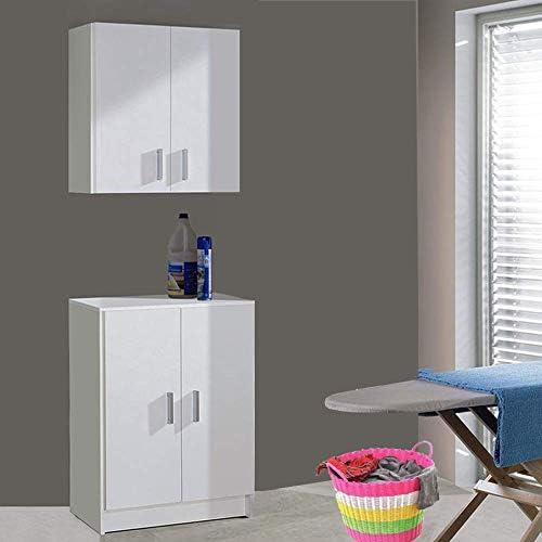 HABITMOBEL Conjunto Muebles Multiusos Bajo + Alto, Microondas ...