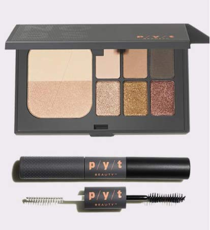 - P/Y/T Beauty Eyeshadow Palette and Mascara, Includes 1 Shimmer and Matte Shades Eyeshadow Palette and 1 Double-Sided Primer and Black Mascara