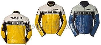 Yamaha Amarillo con Blanco hombro chaqueta de piel de ...