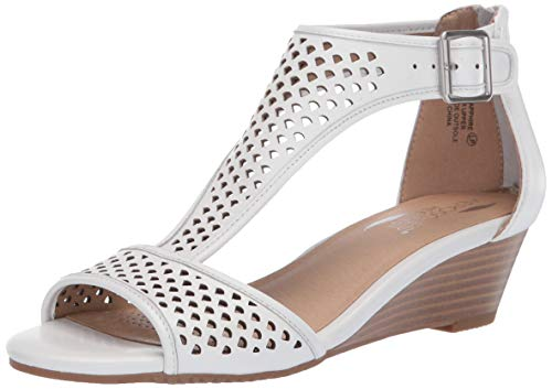 Aerosoles Women's Sapphire Wedge Sandal White Leather 8 M US