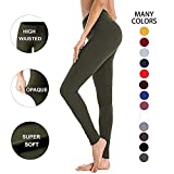 High Waisted Leggings for Women – Soft Athletic Workout Pants - Reg & Plus Size (Olive, One Size (US 2-12))