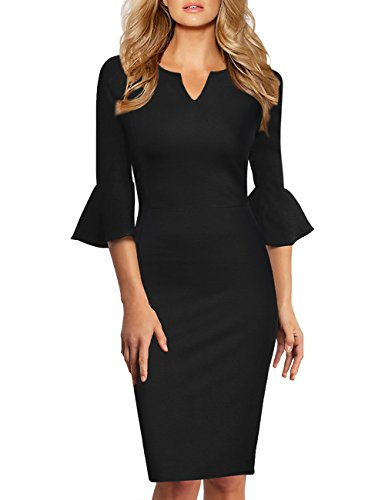 GlorySunshine Women 3/4 Flare Bell Sleeves Work Bodycon Pencil Dress Vintage Cocktail Party Dresses (2XL, Black4)