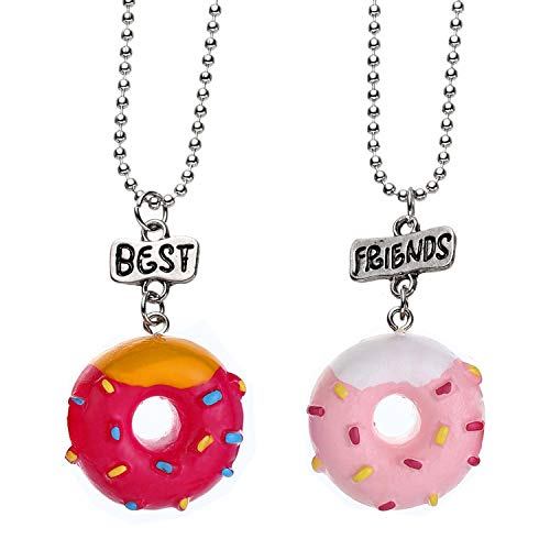 2/3/4 Packs Hand Painting Donuts Favors Best Friends Forever Gift BFF Pendant Necklaces Set (2-Pack)